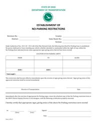 """Form 1296-9 """"Establishment of No-Parking Restrictions"""" - Ohio"""