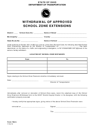 "Form 796-5 ""Withdrawal of Approved School Zone Extensions"" - Ohio"
