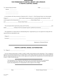 "Form 496-8 ""Application for Permission to Install/Modify and Operate a Traffic Control Signal"" - Ohio"