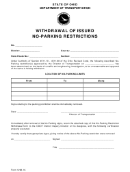 "Form 1296-10 ""Withdrawal of Issued No-Parking Restrictions"" - Ohio"