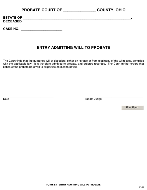 Form 2.3  Printable Pdf