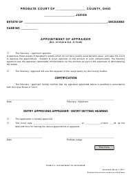 """Form 3.0 """"Appointment of Appraiser"""" - Ohio"""