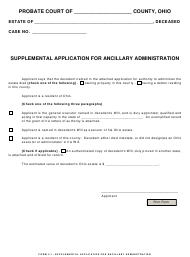 """Form 4.1 """"Supplemental Application for Ancillary Administration"""" - Ohio"""