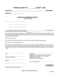 "Form 2.2 ""Notice of Probate of Will"" - Ohio"