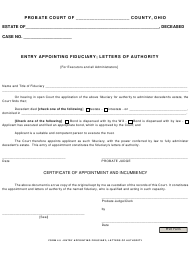 """Form 4.5 """"Entry Appointing Fiduciary; Letters of Authority"""" - Ohio"""