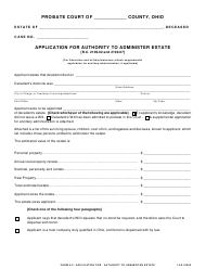 """Form 4.0 """"Application for Authority to Administer Estate"""" - Ohio"""