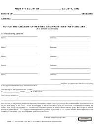 """Form 4.4 """"Notice and Citation of Hearing on Appointment of Fiduciary"""" - Ohio"""