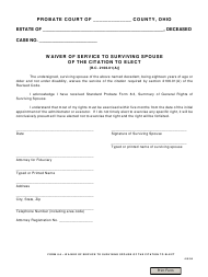 """Form 8.6 """"Waiver of Service to Surviving Spouse of the Citation to Elect"""" - Ohio"""