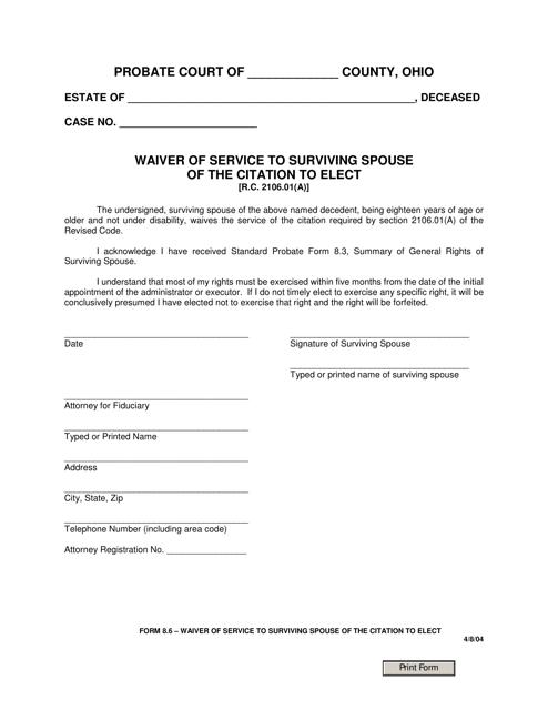 Form 8.6  Printable Pdf