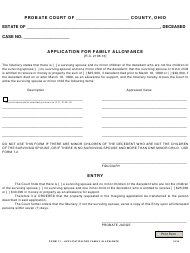 """Form 7.1 """"Application for Family Allowance"""" - Ohio"""