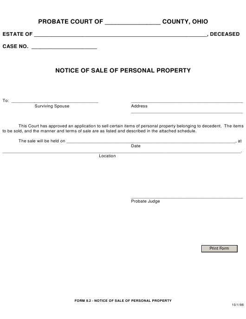 Form 9.2  Printable Pdf