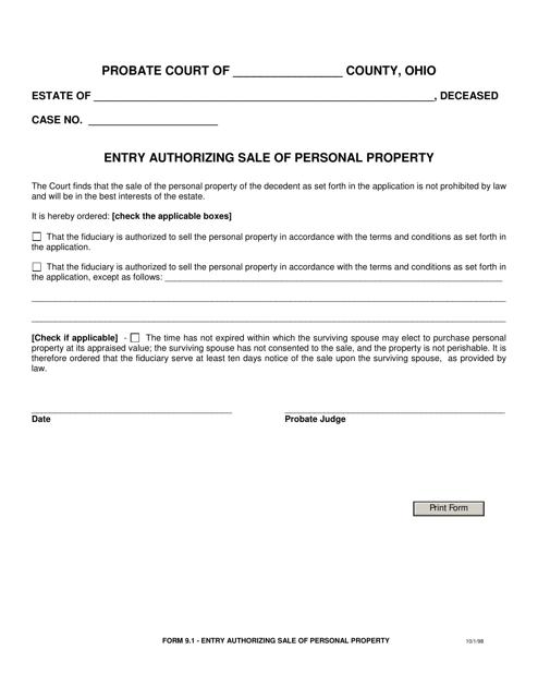 Form 9.1  Printable Pdf