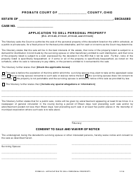 """Form 9.0 """"Application to Sell Personal Property"""" - Ohio"""