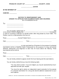 """Form 26.5 """"Notice to Respondent and Order to Appear for Examinations and Hearing"""" - Ohio"""