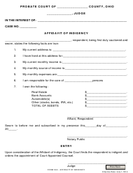 """Form 26.8 """"Affidavit of Indigency"""" - Ohio"""