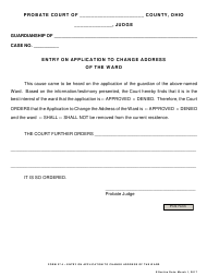 """Form 27.4 """"Entry on Application to Change Address of the Ward"""" - Ohio"""