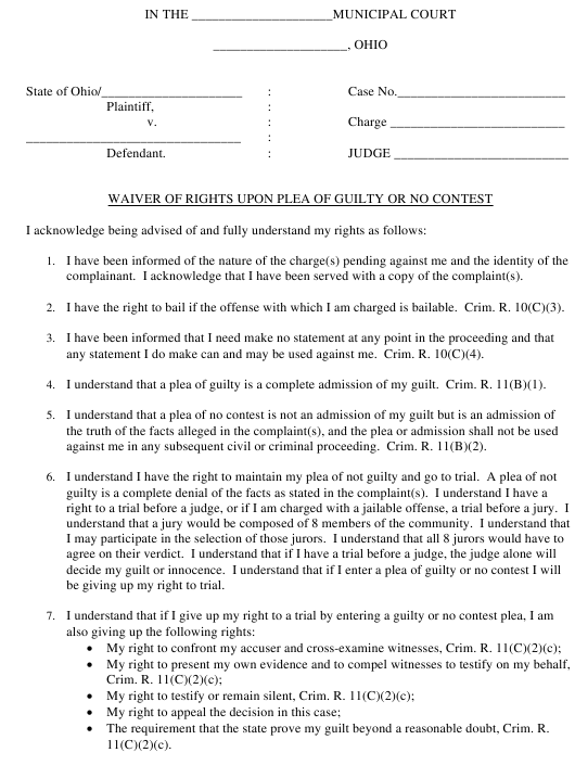 Waiver of Rights Upon Plea of Guilty or No Contest Ohio Download