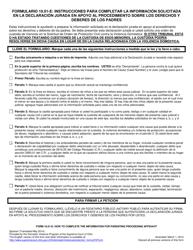 """Instrucciones para Formulario 10.01-F """"Informacion Sobre Declaracion Jurada De Procedimiento De Familia (R.c. 3127.23(A))"""" - Ohio (Spanish)"""