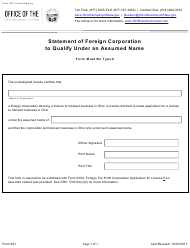 """Form 591 """"Statement of Foreign Corporation to Qualify Under an Assumed Name"""" - Ohio"""