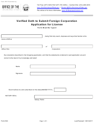 """Form 593 """"Verified Oath to Submit Foreign Corporation Application for License"""" - Ohio"""