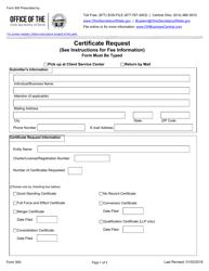 "Form 500 ""Certificate Request"" - Ohio"