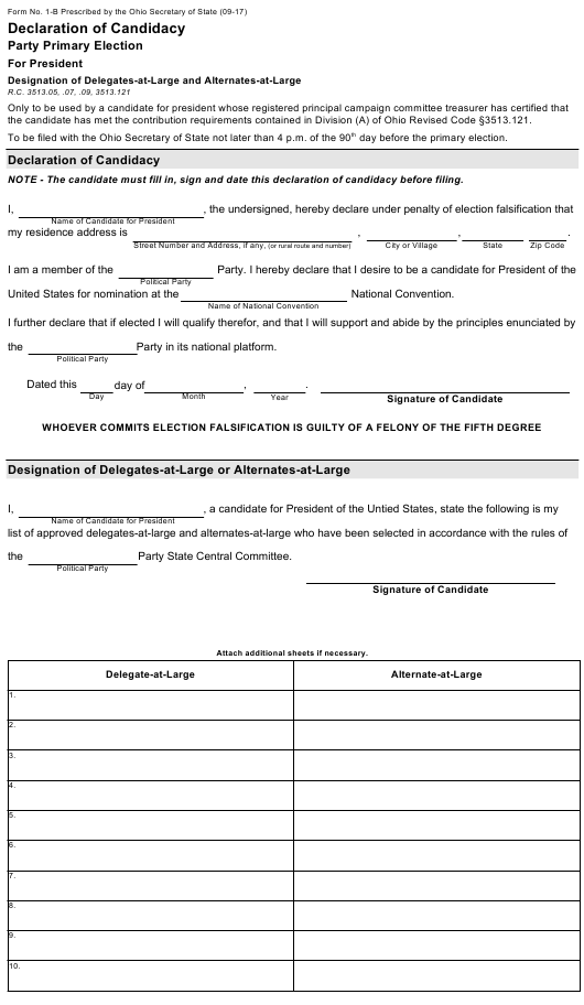 Form 1 B Download Fillable Pdf Or Fill Online Declaration Of Candidacy Party Primary Election For President Designation Of Delegates At Large And Alternates At Large Ohio Templateroller
