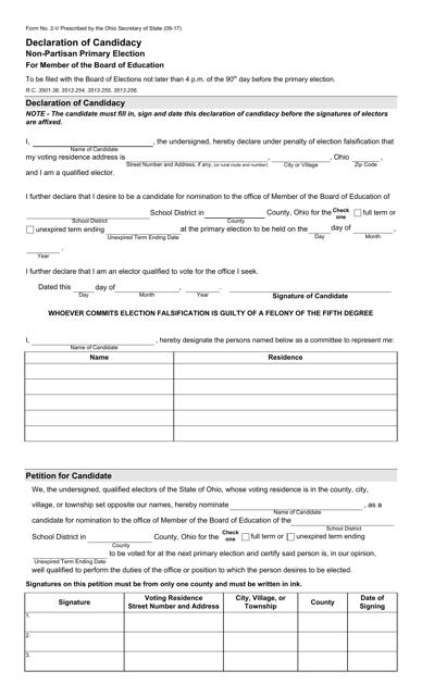 Form 2-V  Printable Pdf