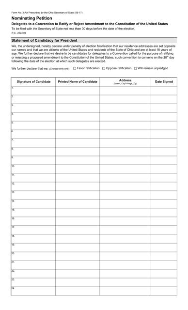 Form 3-AA Printable Pdf