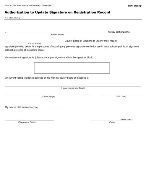 Form 260 Printable Pdf