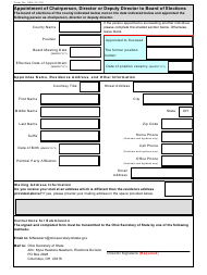 """Form 308 """"Appointment of Chairperson, Director or Deputy Director to Board of Elections"""" - Ohio"""
