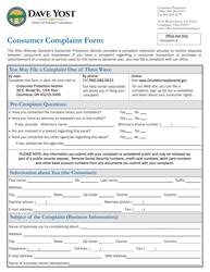 """""""Consumer Complaint Form"""" - Ohio"""