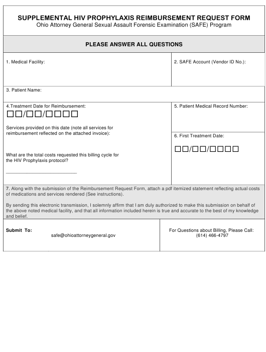 """Supplemental Hiv Prophylaxis Reimbursement Request Form - Ohio Attorney General Sexual Assault Forensic Examination (Safe) Program"" - Ohio Download Pdf"