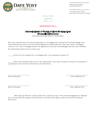 """Addendum A """"Acknowledgment of Receipt of Home Mortgage Loan Informational Document"""" - Ohio"""