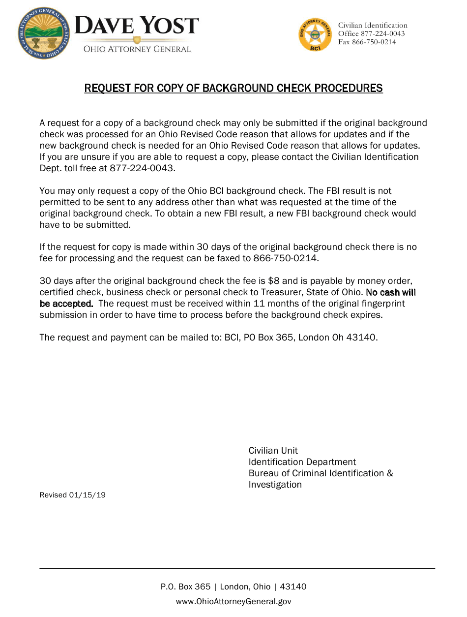 Ohio Request for Copy of Background Check Procedures ...