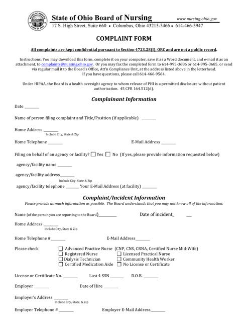 """""""Complaint Form"""" - Ohio Download Pdf"""