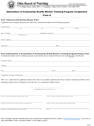 "Form A ""Attestation of Community Health Worker Training Program Completion"" - Ohio"