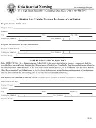 """""""Medication Aide Training Program Re-approval Application Form"""" - Ohio"""