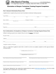 "Form A ""Attestation of Dialysis Technician Training Program Completion"" - Ohio"