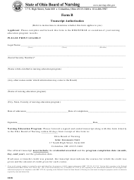 "Form B ""Examination Application - Transcript Authorization"" - Ohio"