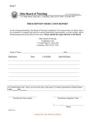 "Form 7 ""Prescription Medication Report"" - Ohio"