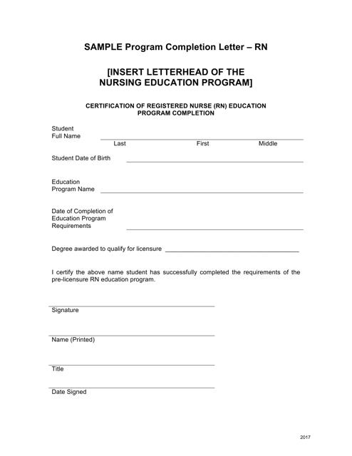 """""""Sample Program Completion Letter Form - Registered Nurse"""" - Ohio Download Pdf"""