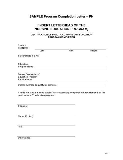 """""""Sample Program Completion Letter Form - Pn"""" - Ohio Download Pdf"""