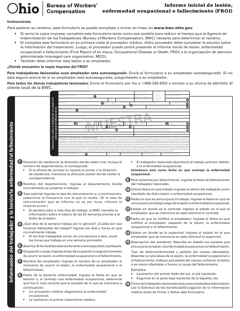 Formulario FROI-1 (BWC-1101)  Printable Pdf