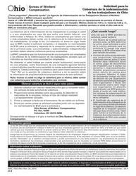 Form U-3 Formulario Bwc-7503 - Solicitud Para La Cobertura De La Indemnizacion De Los Trabajadores De Ohio - Ohio