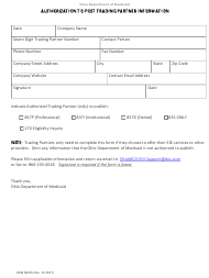 """Form ODM06305 """"Authorization to Post Trading Partner Information"""" - Ohio"""