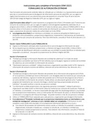 """Instrucciones para Formulario ODM10221 """"Formulario De Autorizacion Estandar"""" - Ohio (Spanish)"""