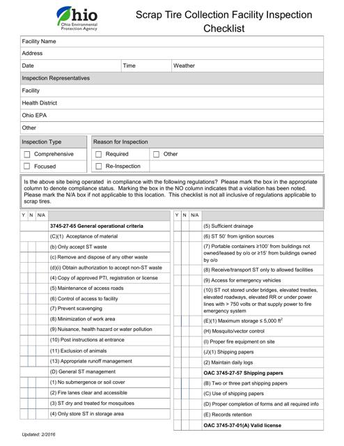 """""""Scrap Tire Collection Facility Inspection Checklist"""" - Ohio Download Pdf"""