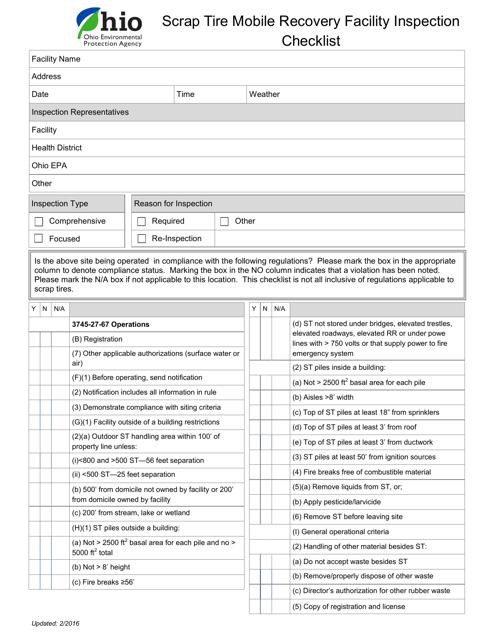 """""""Scrap Tire Mobile Recovery Facility Inspection Checklist"""" - Ohio Download Pdf"""