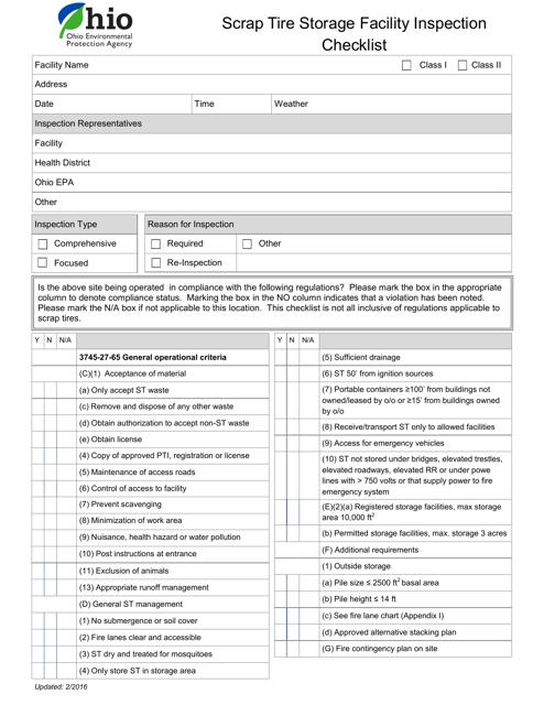 """""""Scrap Tire Storage Facility Inspection Checklist"""" - Ohio Download Pdf"""