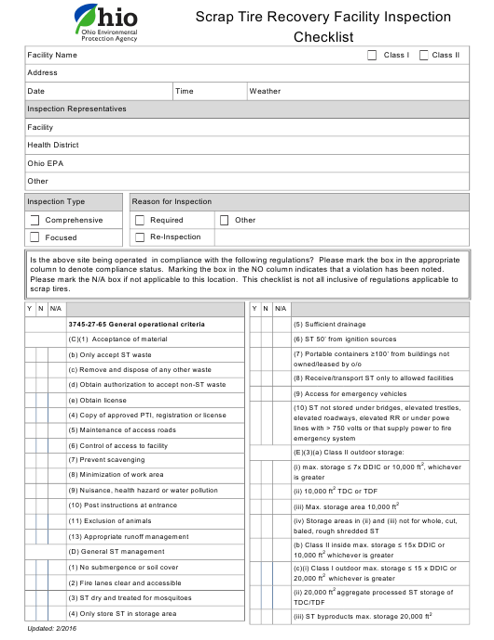 """""""Scrap Tire Recovery Facility Inspection Checklist"""" - Ohio Download Pdf"""